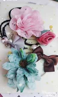 花花水鑽珍珠髮飾髮繩橡筋髮圈