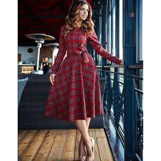 Free Shipping Promotion-15-25 Days Shipping Time for Long Sleeve Boho Plaid Evening Long Maxi Dress
