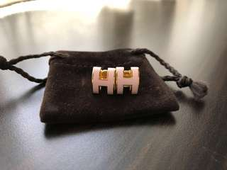 Hermes earrings pop H ( pink and gold)