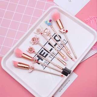 Sailor moon cardcaptor Sakura  inspired pink makeup brushes