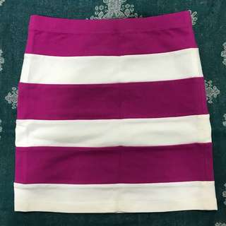 Dark pink stripes bandage skirt