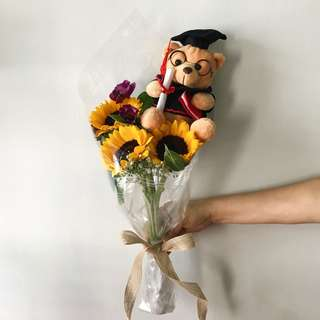 Triple Sunflowers with Graduation Bear