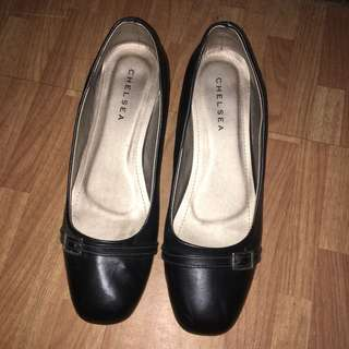 Chelsea Black Leather Wedges for School/Work