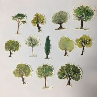 INSTOCK🌸WATERCOLOR TREE STICKERS(12PC)