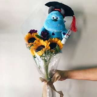 Triple Sunflower with Graduation Plush Toy