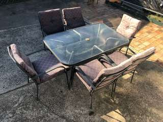 Outdoor glass top table and chairs