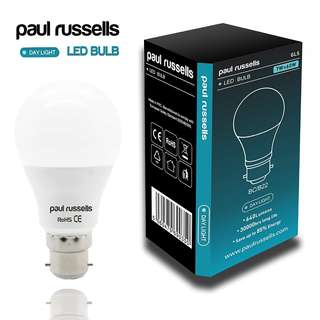 919. paul russels LED Light Bulb B22 BC Bayonet Paul Russells Very Bright 7w = 60w Day Light A60 [Energy Class A+]