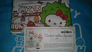 Hello Kitty limited edition figurine voucher  and zip pouch