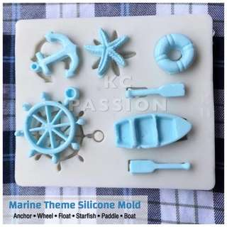 ⛵️ MARINE THEME SILICONE MOLD [ Anchor • Wheel • Starfish • Float • Boat • Paddle ]  for Pastry • Chocolate • Fondant • Gum Paste • Candy Melts • Jelly • Gummies • Agar Agar • Ice • Resin • Polymer Clay Craft Art • Candle Wax • Soap Mold • Chalk • Crayon