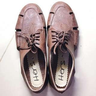 Sepatu wanita vintage hers oxford shoes coklat kulit sintetis tali