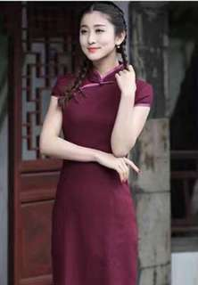 🚚 Solid Colour Cheongsam (Red/Pink Available)