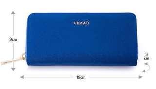 🚚 VEMAR氣質時尚系列皮革拉鍊長夾(亮寶藍)