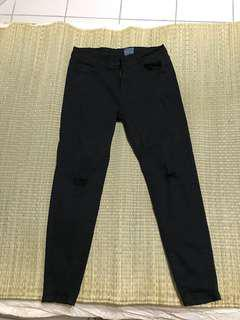 🚚 黑色彈性破褲