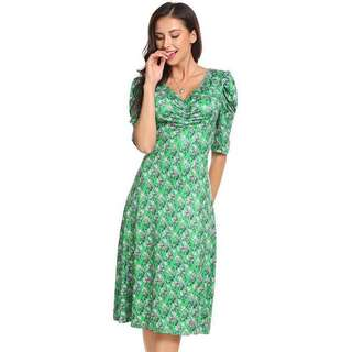 Free Shipping Promotion-15-25 Days Shipping Time for Women V-Neck Puff Sleeve Ruched Bust Floral Print Casual Midi Dress