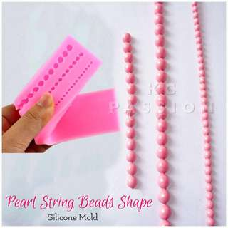 📿 PEARL STRING BEADS SILICONE MOLD TOOL  for Pastry • Chocolate • Fondant • Gum Paste • Candy Melts • Jelly • Gummies • Agar Agar • Ice • Resin • Polymer Clay Craft Art • Candle Wax • Soap Mold • Chalk • Crayon Mould •
