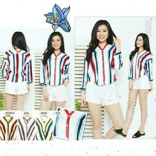 Blouse kimono stripe blouse salur Volita Top baju salur kemeja salur