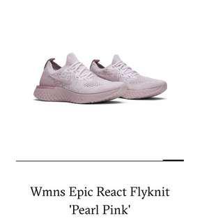 Nike Flyknit React in Pearl Pink