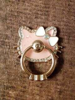 包郵 粉色Hello Kitty閃石手機指環支架