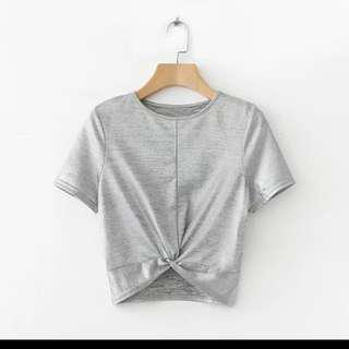 Bling Silver Crop Top with Twist (BNWT)
