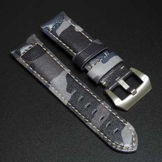 (2475) 全新24mm 藍迷彩牛皮代用錶帶配針扣 合適 Panerai, Seiko, Bell & Ross, Tudor 等等