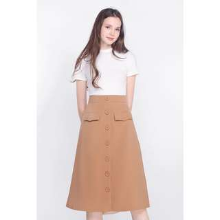 Fayth neith utilitarian midi skirt, tan