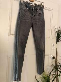 🍃MNG Womens Grey Raw Hemmed Jeans Sz 6 🍂