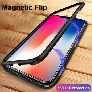 WK Design Magnetic Tempered Glass Back IPhone Case BLACK