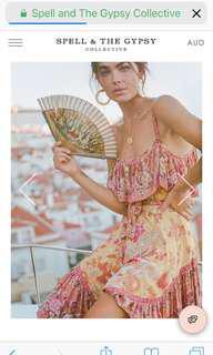 💕Spell Designs Xxs Siren Song strappy Dress 🌿 rrp $279