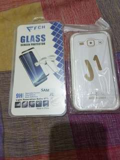 Samsung J1 tempered glass and shockproof case