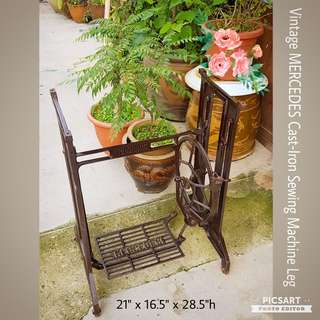 Rare Vintage MERCEDES Cast-Iron Sewing Machine Leg. Great as Table-leg. Good Condition. $88 offer. Sms 96337309 for fast deal.