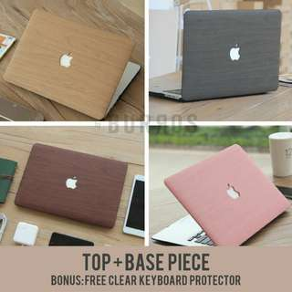 📣INSTOCKS📣 PU Leather Wood Macbook Apple Laptop Case Cover Protector