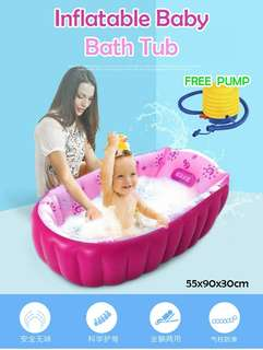 Inflatable baby tub with pump