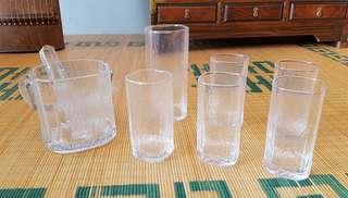 Glass ice bucket set