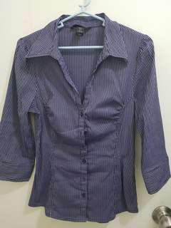 H&M Purple Striped 3/4 Sleeve Collared Blouse