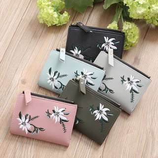 Floral Embroided Mini Wallet