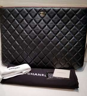 真品Chanel Calfskin Clutch Bag Pouch Big Size黑金
