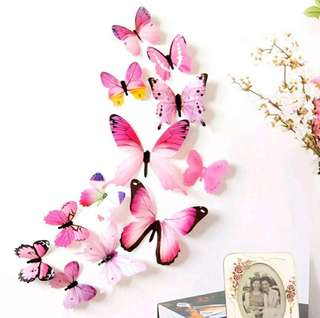 3D DIY Wall Sticker Stickers Butterfly Home Decor Room Decorations Pink