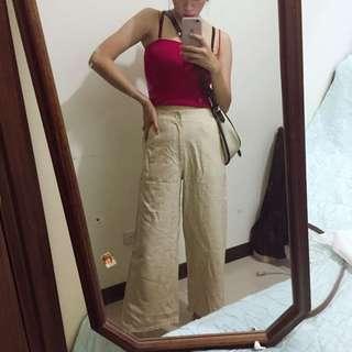 🚚 米白質感寬褲