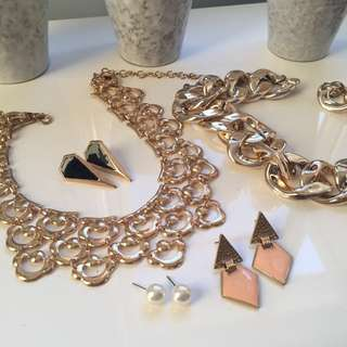 Gold Necklaces and Earrings Colette