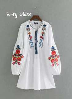 Puffy Embroidered Dress
