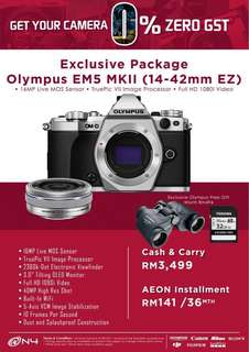 Olympus EM5 MKII (14-42mm f3.5-5.6 EZ) 1 Year + 3 Months Olympus Malaysia Warranty 0% GST PROMOTION!!!