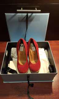 NEW Lanvin Red Suede Wedges UK 5.5/EU 38.5