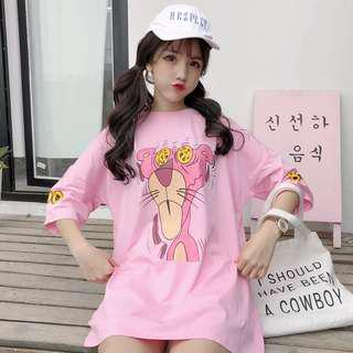 (PO) cute pink panther oversize tee