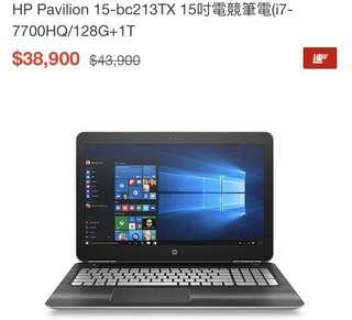 HP 15吋電競筆電 I7 GTX1050 吃雞超順 保固中