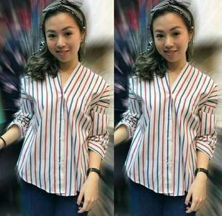 Ab79-KMJ CANDY STRIP RED  Katun import , high quality , fit to xl, LD 100