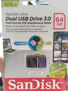 Brand new Sandisk 64GB Dual Drive USB Flash Drive