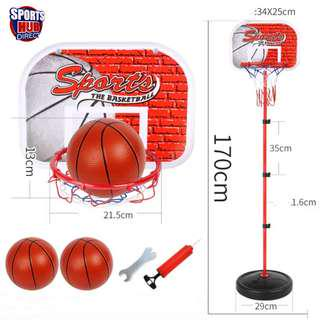 1.3m-1.7m Adjustable Portable Mini Indoor Basketball Stand Net Hoop Backboard Ball - 2 Basketballs