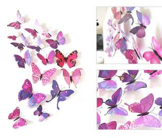DIY 3D Butterfly wall sticker / pin dual use