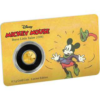 2016 Mickey Brave Little Tailor 0.5 gram Gold coin