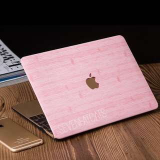Pink Wood Macbook Cover